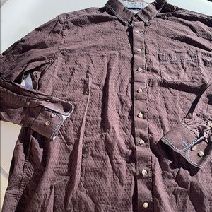 Men's Brown and Blue Stitch button down shirt